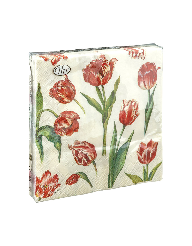 Servetten L Red Tulips
