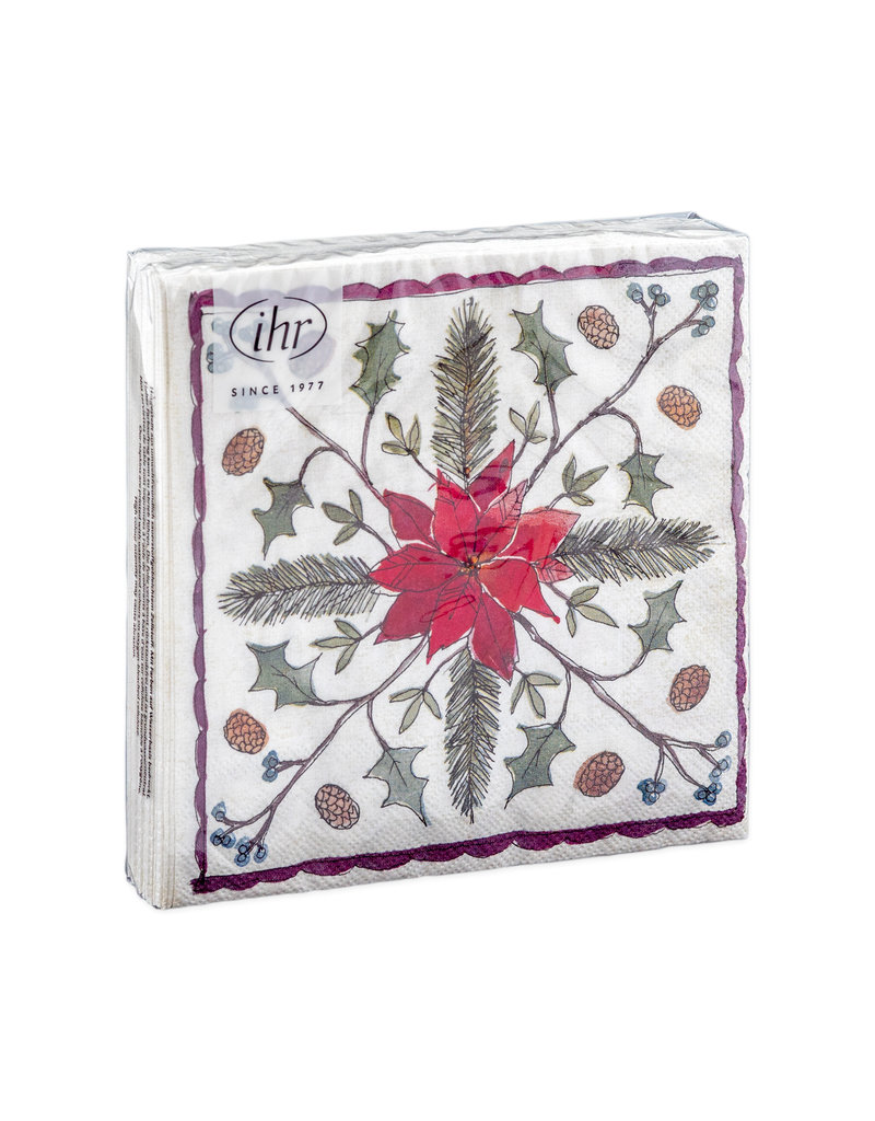 Servetten Christmas floristry cream