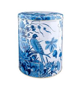 Storage tin Bird Delft blue 28 cm