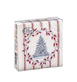 Servetten C Snowy Tree Red