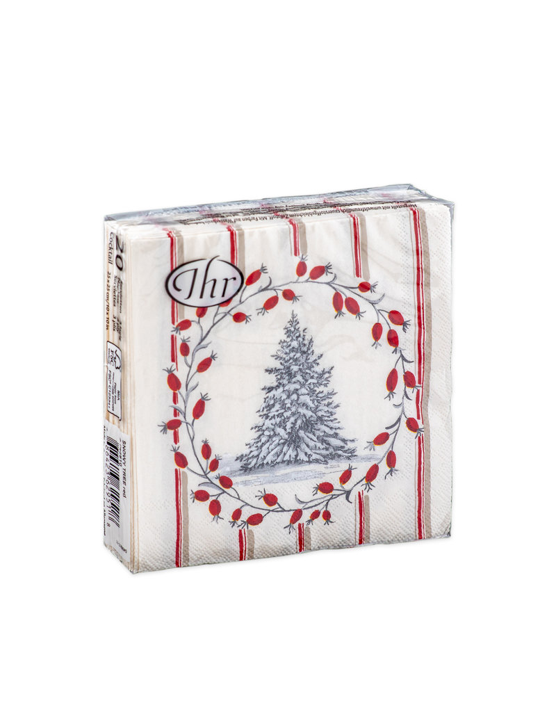 Napkins C Snowy Tree Red