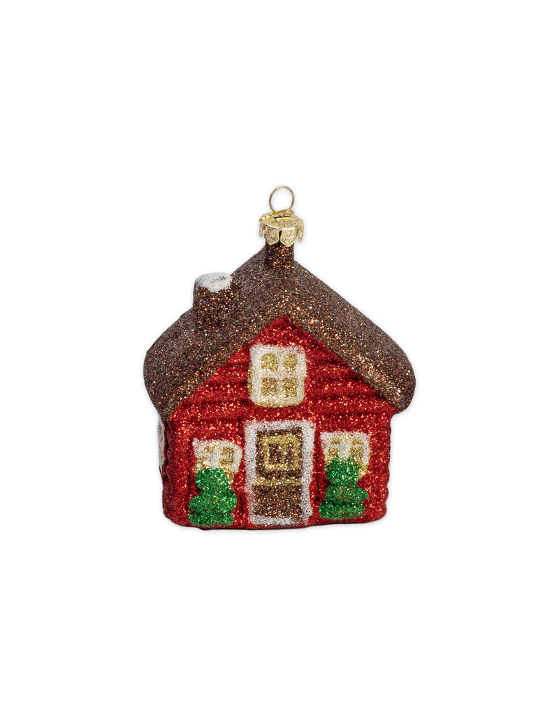 Kerst ornament huisje bruin dak
