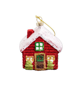 Christmas ornament house with snow