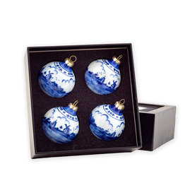 Box of Christmas balls (4pcs) porcelain Delft blue