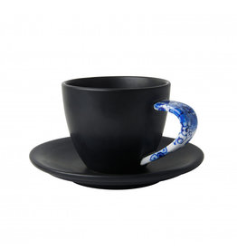 Kop en schotel  mat zwart Delfts blauw