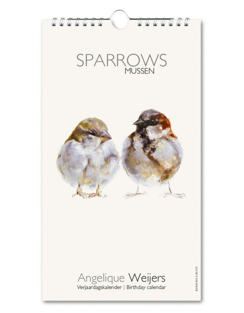 Birthday calendar Sparrows, Angelique Weijers