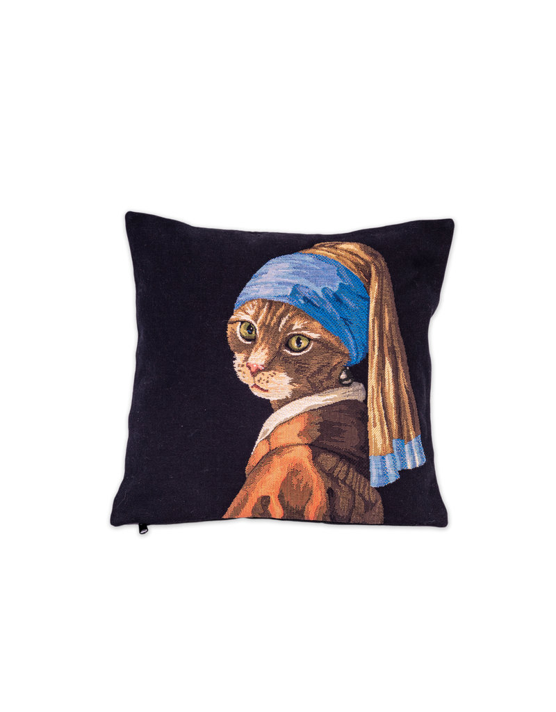 Cushion cover cat Girl with a pearl earring