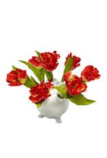 Tulip vase white round large
