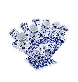 Vouwbare Delftsblauwe papieren waaiervaas