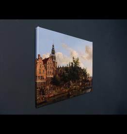 Reproductie op canvas Gezicht op de Oudezijds Voorburgwal 50x40 cm