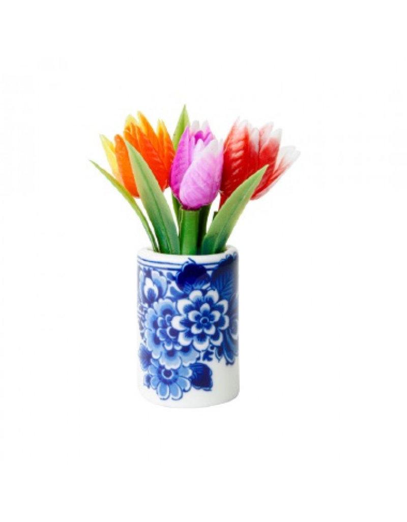 Magneet tulpen in bloempot Delfts Blauw