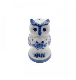 Beeldje Uil op voet Delfts blauw