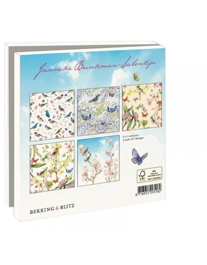 Kaartenmapje Vogels, vlinders en bloemen, Janneke Brinkman