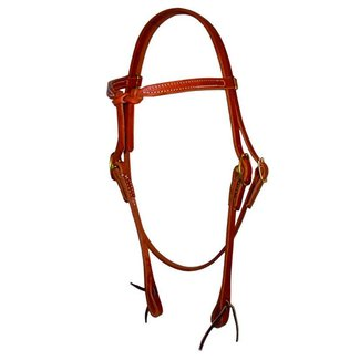 Berlin custom leather Headstall knotted browband