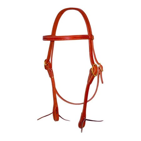 Berlin custom leather Headstall front droit w. attacher