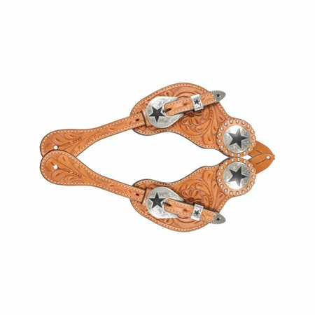 Western Rawhide Spur Strap mit Floral Carving