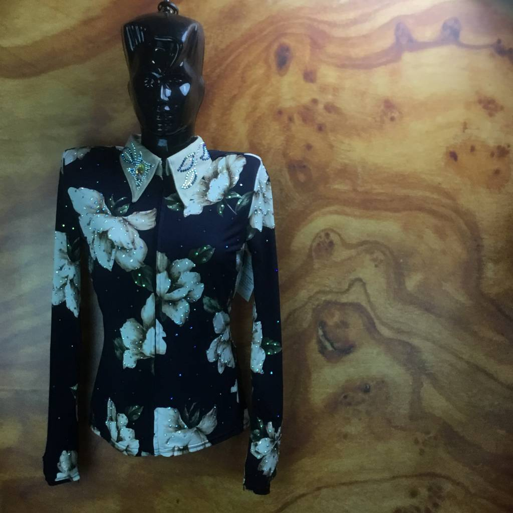 Western Collection Styles Black Glamour Flower Showshirt
