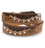 Tony Lama Kaitlyn Crystal brown Leather Belt