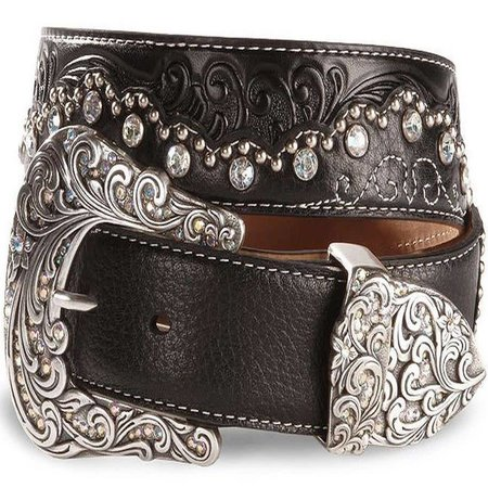 Tony Lama Kaitlyn Crystal Scalloped Leather Belt