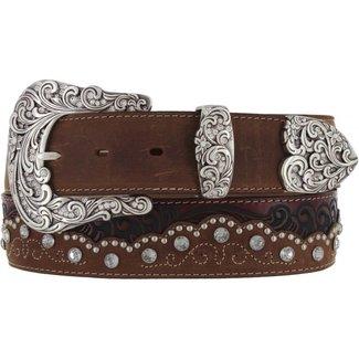 Tony Lama Kaitlyn Crystal brown Leather Belt