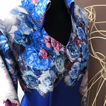 DE-Showoutfits DE Veste De Soirée Blue Rose Taille M