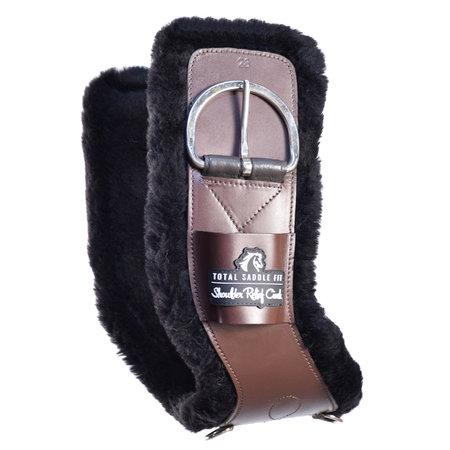 Total Saddle Fit Brown Shoulder Relief Cinch mit weicher schwarzer 100% Wolle