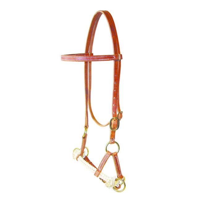 Berlin custom leather Double Rope side pull -  bitloos western hoofdstel