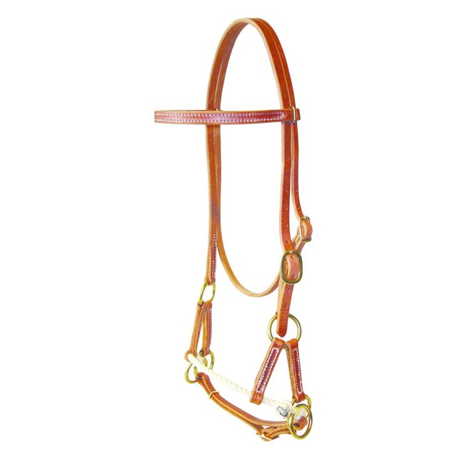 Berlin custom leather Single Rope side pull -  Bitloos western hoofdstel