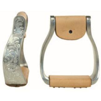 Western Rawhide Aluminum engraved offset stirrups