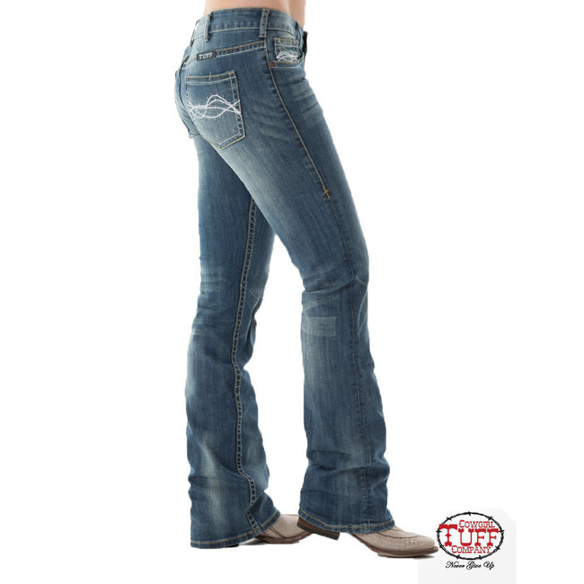 "Cowgirl Tuff ""Do not Fence Me In"" washed jeans"