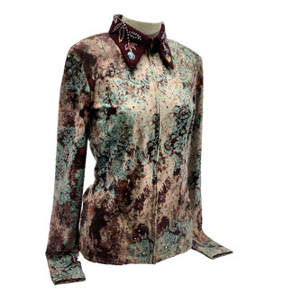 Western Collection Styles Turquoise glamour flower Showshirt mt M