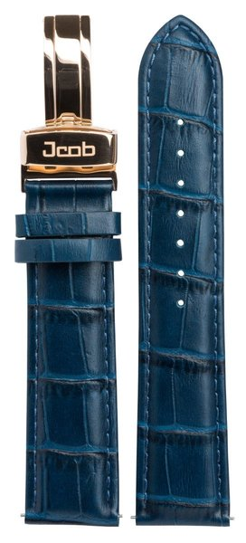 Jcob Jcob Einzeiger JCS-LR03 leren horlogeband blauw