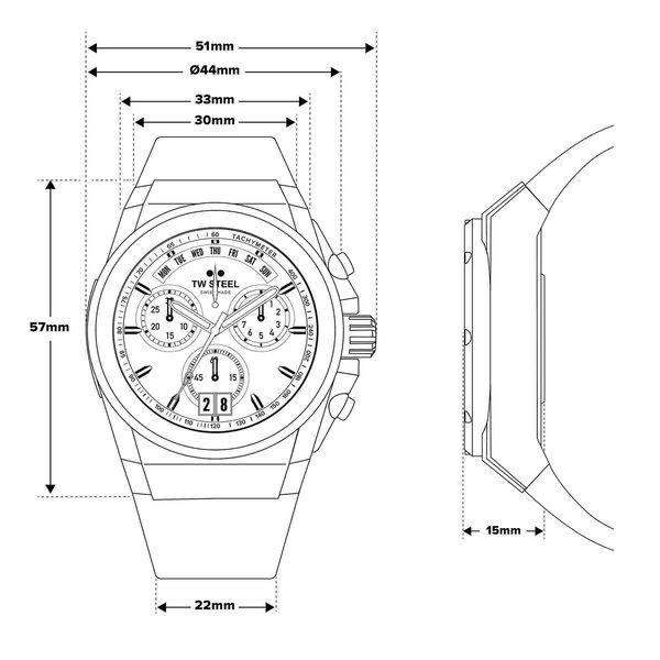 TW Steel TW Steel ACE112 Genesis chronograaf herenhorloge 44mm