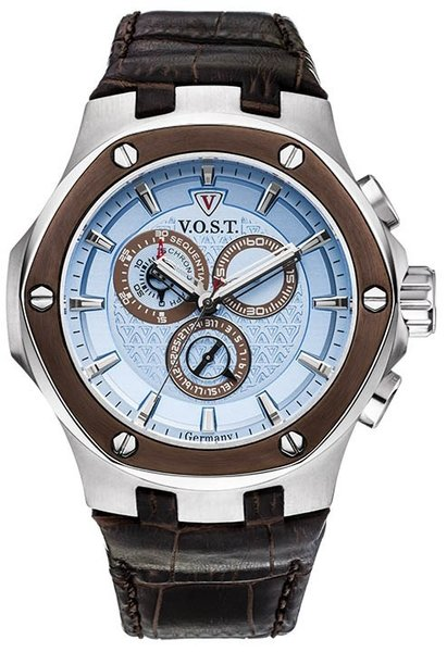 V.O.S.T. Germany V.O.S.T. Germany V100.019 Blue Chrono heren horloge 44mm