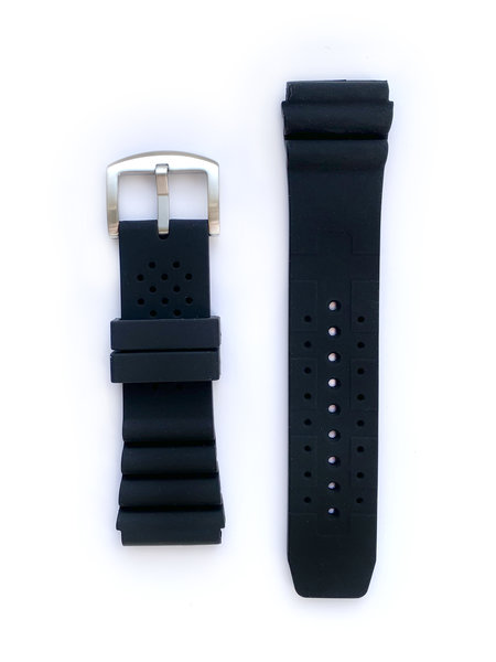 Tauchmeister Tauchmeister 24mm zwart rubber horlogeband S24-dive