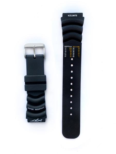 Tauchmeister Tauchmeister 20mm zwart rubber horlogeband S20-dive