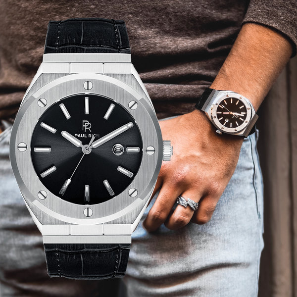 Paul Rich Paul Rich Signature Carbon Leer PR68SBL horloge 45 mm