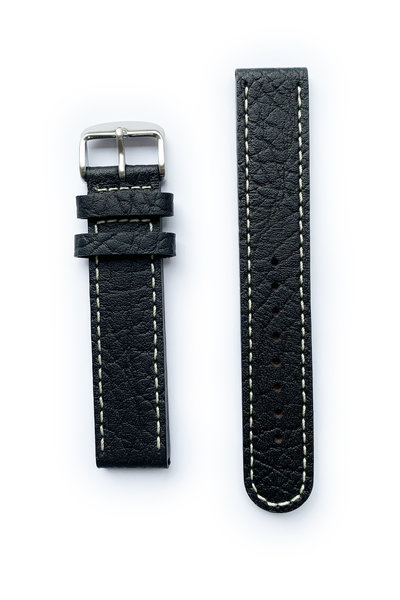 Tauchmeister Tauchmeister 20mm zwart lederen horlogeband S20-black