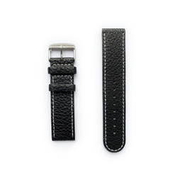 Tauchmeister 22mm zwart lederen horlogeband S22-black