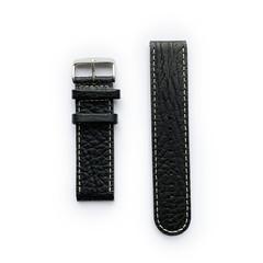 Tauchmeister 24mm zwart lederen horlogeband S24-black