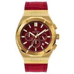 Paul Rich Motorsport Carbon Fiber Gold Red Leather MCF03-L horloge 45 mm