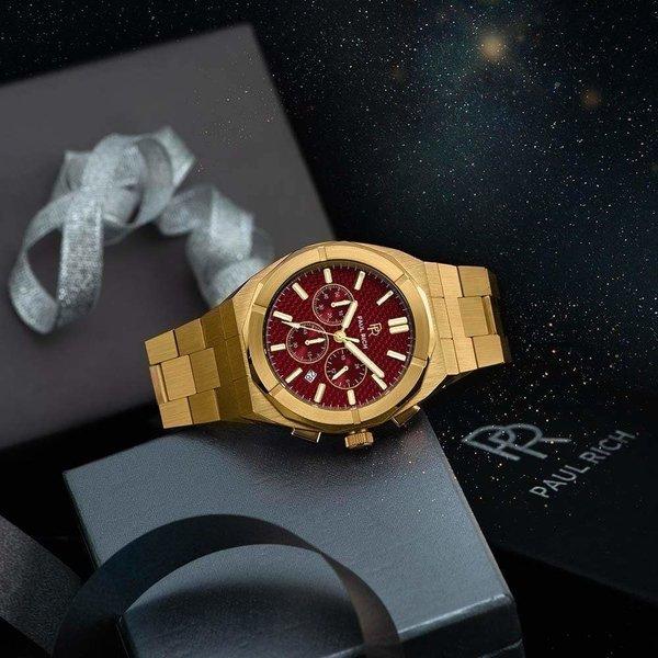 Paul Rich Paul Rich Motorsport Carbon Fiber Gold Red MCF03 horloge 45 mm