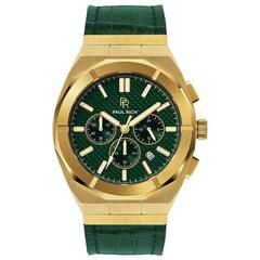Paul Rich Motorsport Carbon Fiber Gold Green Leather MCF02-L horloge 45 mm
