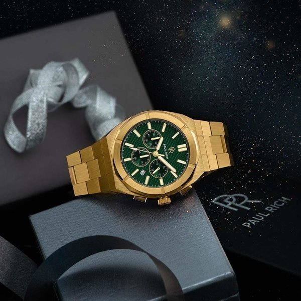Paul Rich Paul Rich Motorsport Carbon Fiber Gold Green MCF02 horloge 45 mm