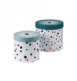 hoorens Round box, 2 pcs set, Happy dots, blue