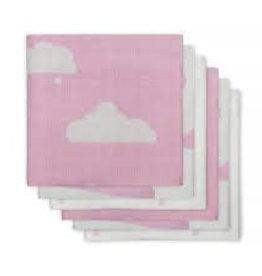 Jollein Hydrofiel luier Clouds pink (6pack)