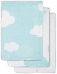 Jollein Monddoekje hydrofiel Clouds jade (3pack)