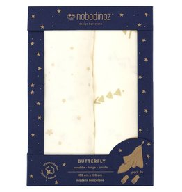 Nobodinoz butterfly swaddle pack white 100 x 120