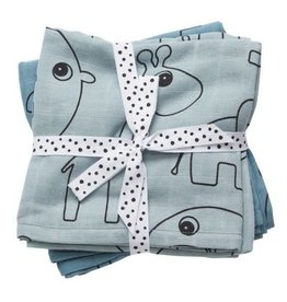 Done by Deer Burp cloth, 2-pack, Contour, blue