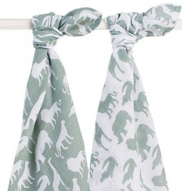 Jollein Set van 2 swaddles Safari Forest green Jollein